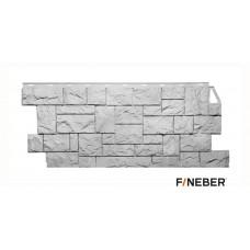 Фасадная панель ПВХ FineBer (Файнбир) Камень Дикий Мелованный Белый