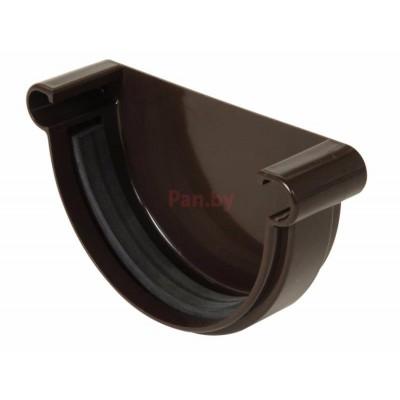 Заглушка водосточной воронки (желоба) Nicoll LG25 универс., D-125, Коричневый (резиновое уплотнение)