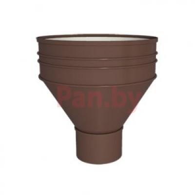Воронка водосточная МеталлПрофиль Проект выпускная, D185/150, цинк, Коричневый